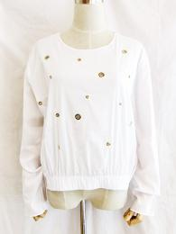 【SALE】MICHEL A MII/ITALY/穴あきロングスリーブTOPS/020296-WH